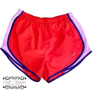womens nike running athletic lined shorts size medium red Purple
